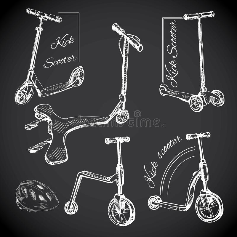 Set hand drawn labels with Kick scooters. Chalk board logos. Vector illustration of set hand drawn labels with Kick scooters. Chalk board logos vector illustration