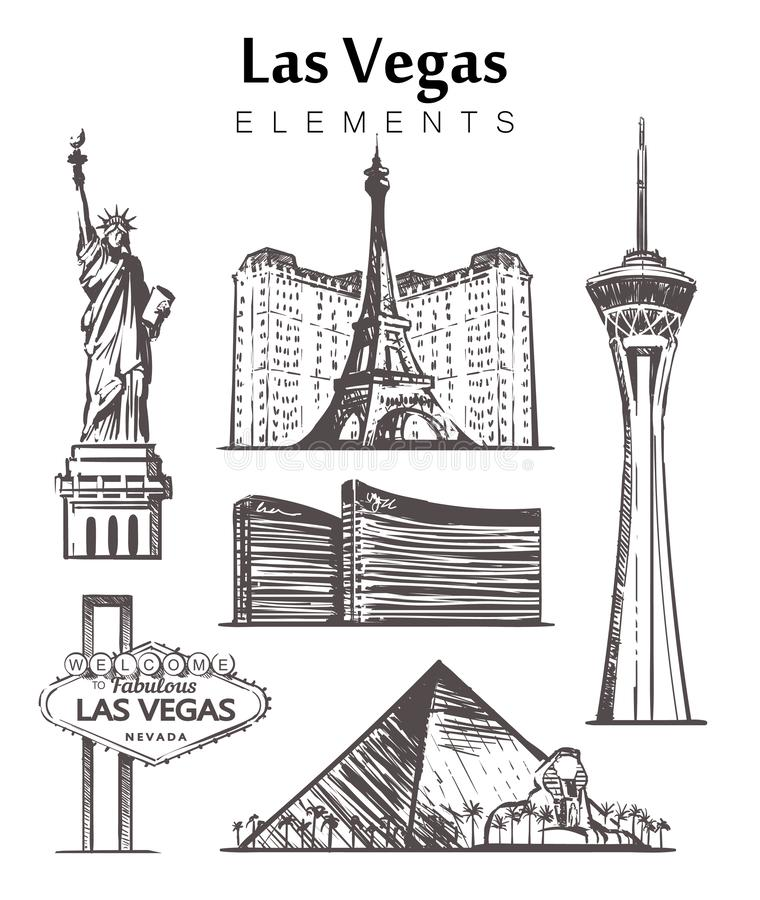 Set of hand-drawn Las Vegas buildings elements sketch vector illustration stock illustration