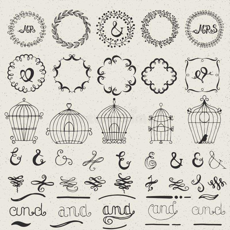 Set of hand drawn lettered design elements Πvector illustration