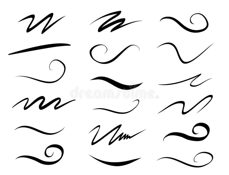 Set of hand drawn lettering and calligraphy swirls, squiggles. Vector ink decorations for composition stock illustration