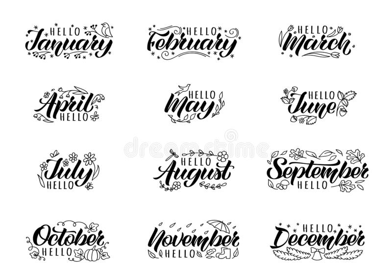 Set of hand drawn lettering with names of months and doodles. Hand written months titles for print, invitation or greeting cards, brochures, poster, calender stock illustration