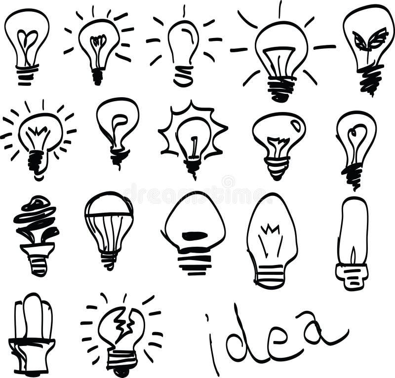 Set Of Hand Drawn Light Bulbs Symbol Of Ideas Stock Vector