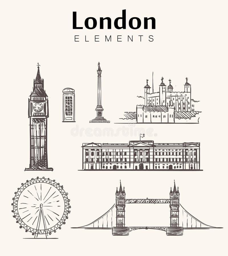 Set of hand-drawn London buildings.London sketch illustration. vector illustration