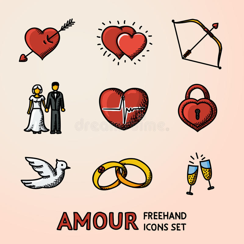 Set of hand drawn Love Amour icons with - heart arrow, two hearts, cupid bow, couple, pulse, locker, bird, rings stock illustration