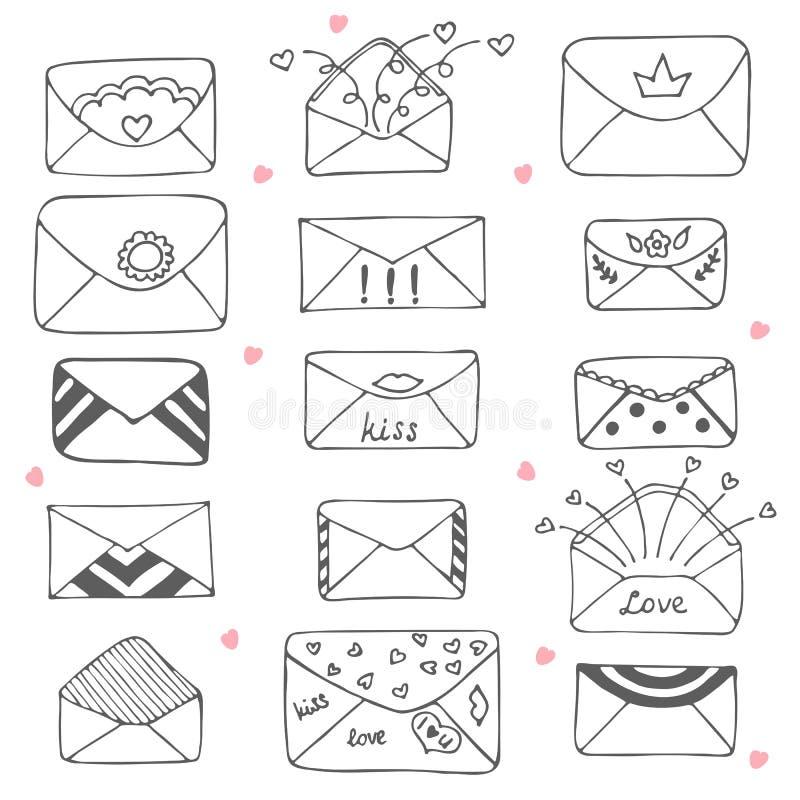 Set of hand drawn mailing envelopes. Communication icon in sketc. H style. Vector illustration vector illustration