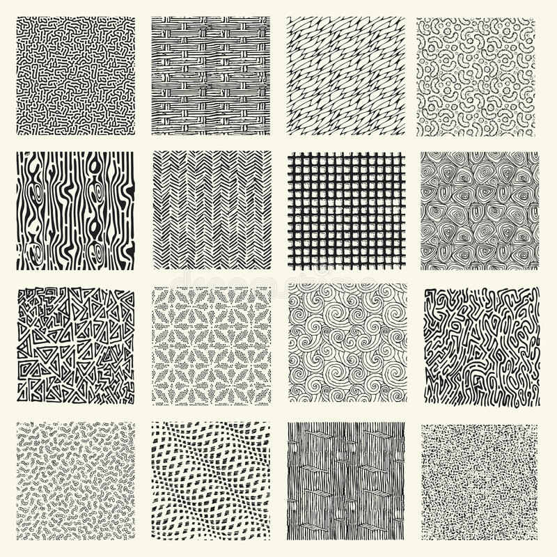 Set of hand drawn marker and ink patterns. Simple vector scratch textures with dots, strokes and doodles stock illustration