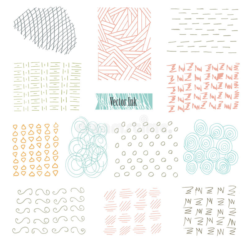 Set of hand drawn marker and ink patterns. Simple vector scratchy textures with dots, strokes doodles royalty free illustration