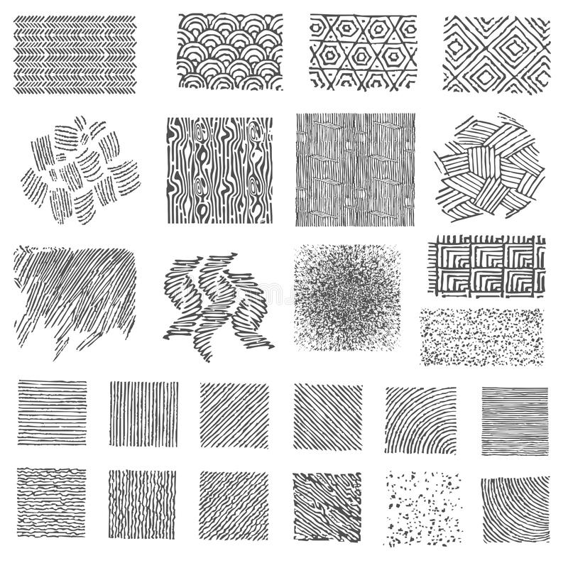 Set of hand drawn marker patterns vector illustration
