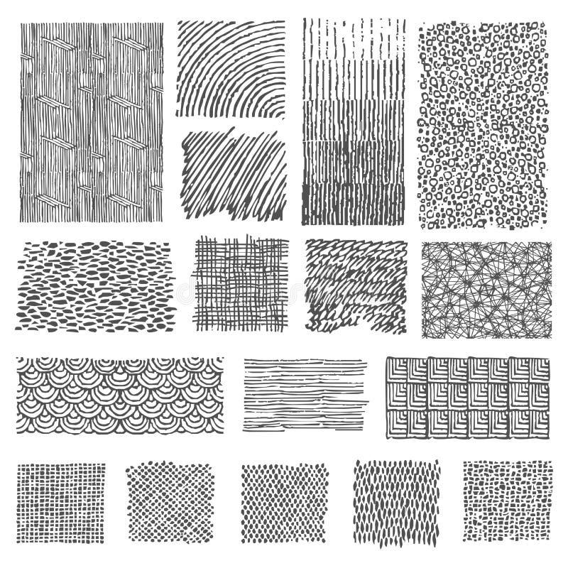 Set of hand drawn marker patterns royalty free illustration