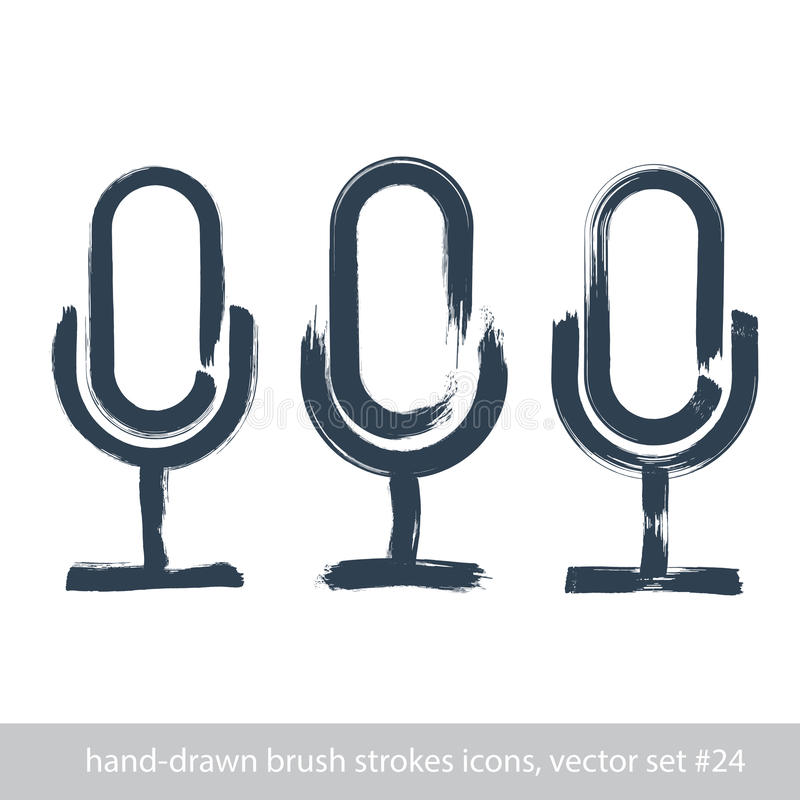 Set of hand-drawn microphone icons, brush drawing multimedia signs, collection of hand-painted stroke mic signs isolated on white royalty free illustration