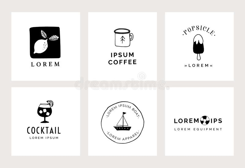 Set of hand drawn minimal logo templates. Food, drink and travel concept. Business branding identity. Isolated symbols. Simple and elegant icons collection stock illustration