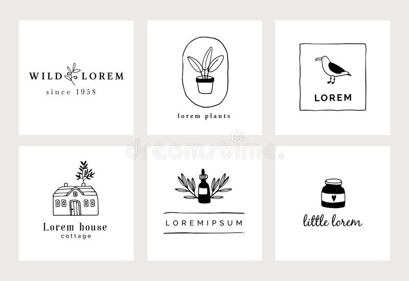 Set of hand drawn minimal logo templates. Food, drink and travel concept. Business branding identity. Isolated symbols. Simple and elegant icons collection royalty free illustration