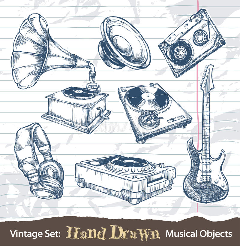 Download Set Of Hand Drawn Musical Objects Stock Images - Image: 30016024