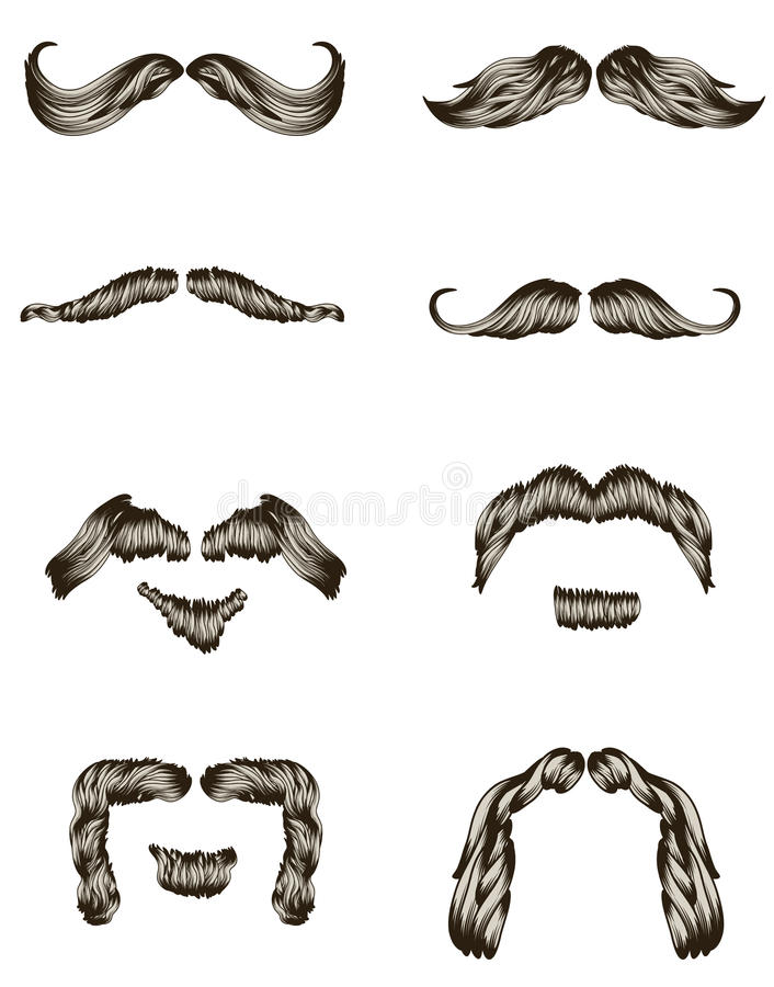 Download Set Of Hand Drawn Mustaches Stock Vector - Illustration: 12763089