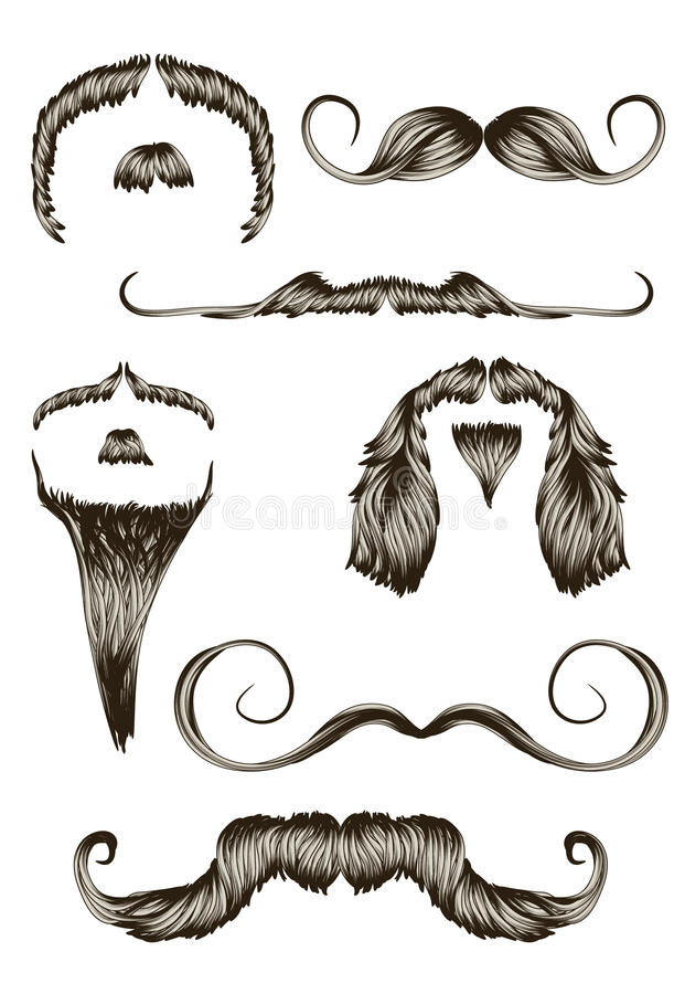 Set of hand drawn mustaches vector illustration