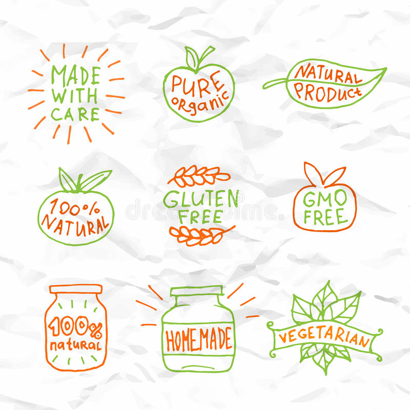 Set of hand drawn natural badges and labels vector stock illustration