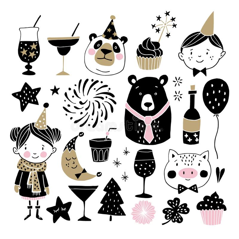 Set of hand drawn New Year or birthday graphic elements. Childrens with party hats, cute bears, pig fireworks, drinks stock illustration