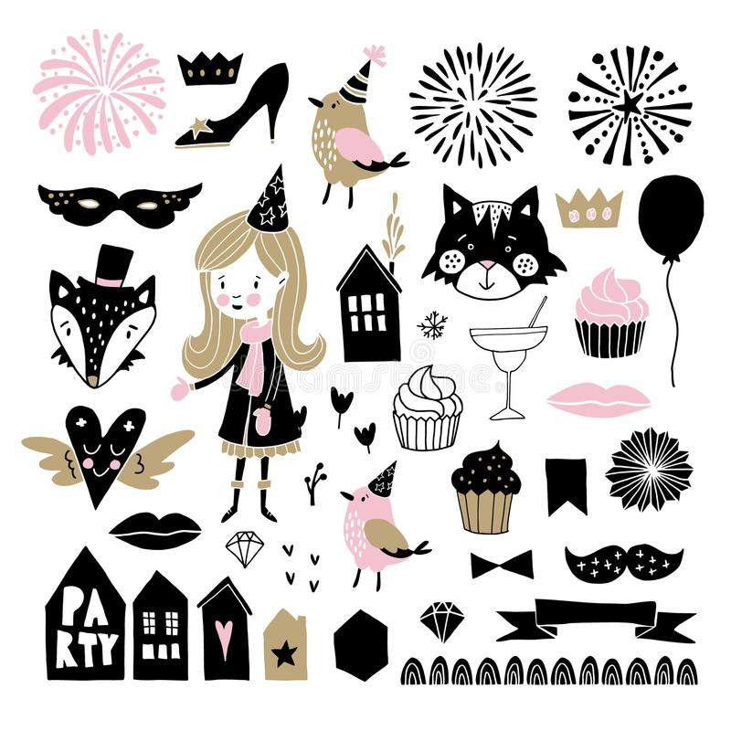 Set of hand drawn New Year or birthday party graphic elements. stock illustration