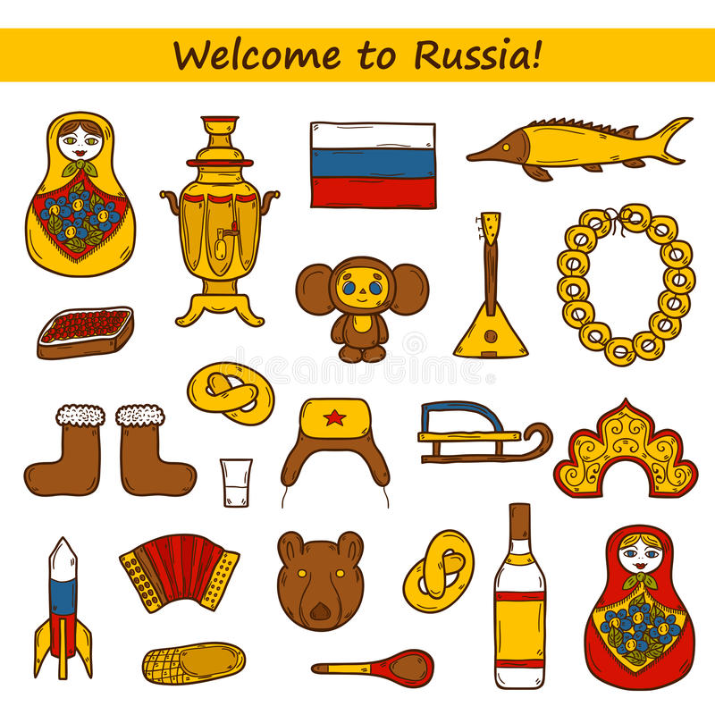 Set of hand drawn objects on Russia theme vector illustration