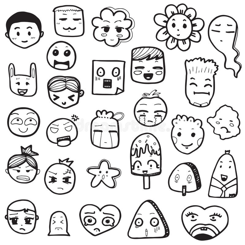 Set Of Hand Drawn Outline Doodle Emoticons Vector ...