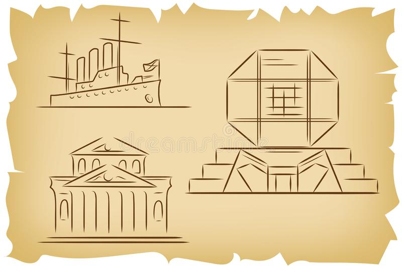 Set of hand drawn outline sketches of famous landmarks - Bolshoi Theatre in Moscow, Russia, Cruiser Aurora in St.Petersburg, royalty free illustration