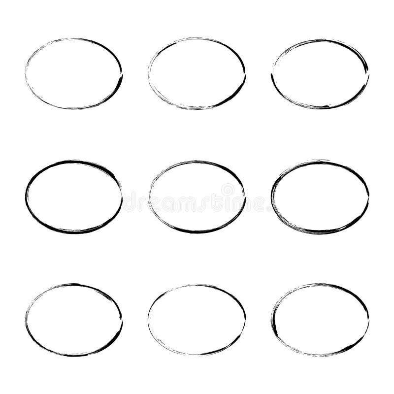 Set hand drawn oval frame. stock illustration