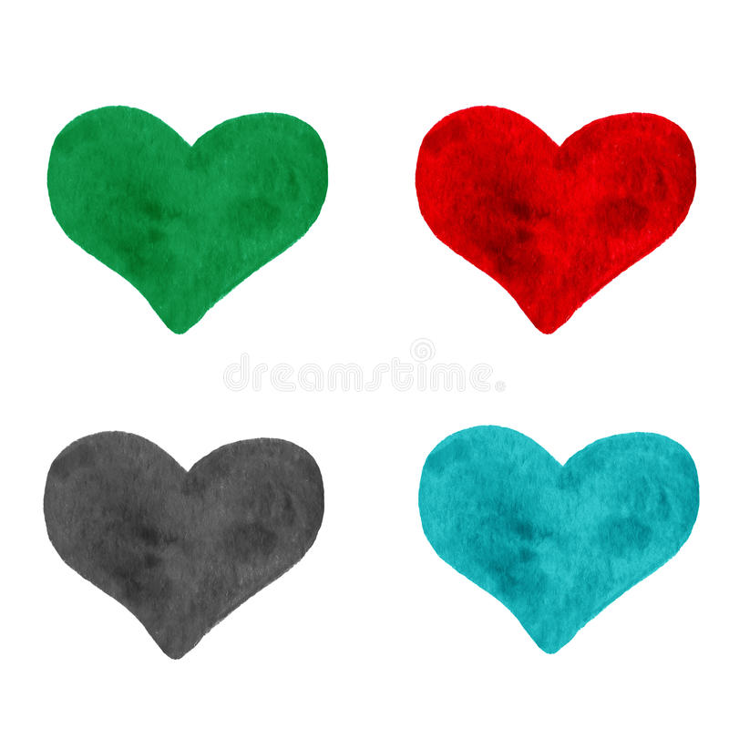 Set of Hand drawn painted colorful heart, beautiful element for stock image