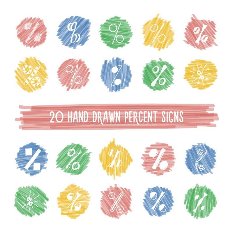 Set of hand drawn percent signs on highlight spots set. vector illustration