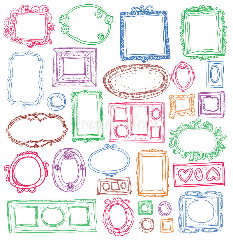 Set of hand drawn picture frames stock illustration