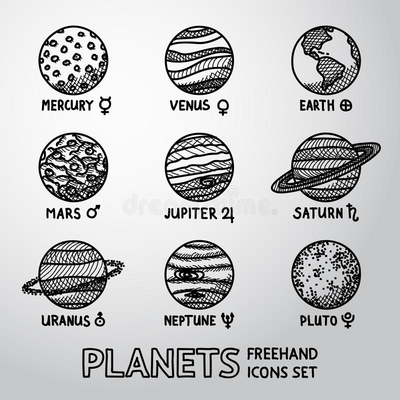 Set of hand drawn planet icons with names and stock illustration