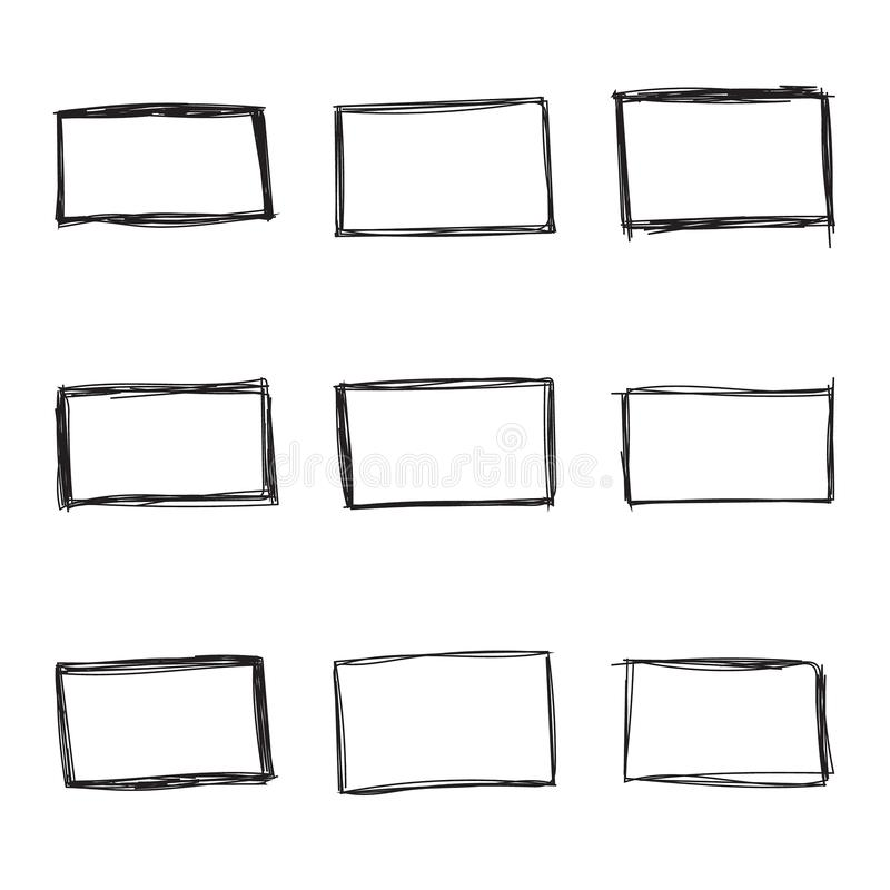 Free Set Hand Drawn Rectangle Royalty Free Stock Images - 139367919
