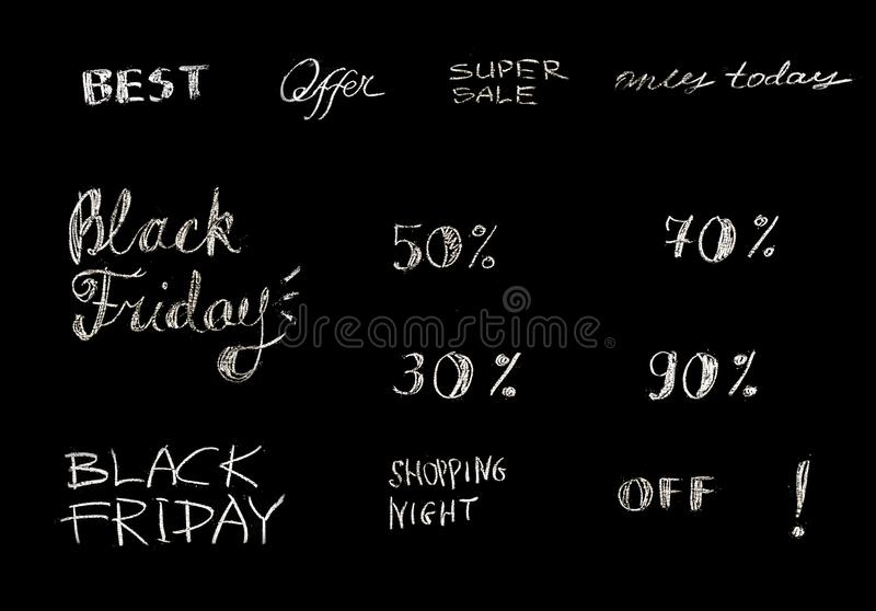 Set of hand drawn sale lettering, typography. Retail promotion banner for discount offer or Black Friday clearance. Set of hand drawn sale lettering, typography stock photography