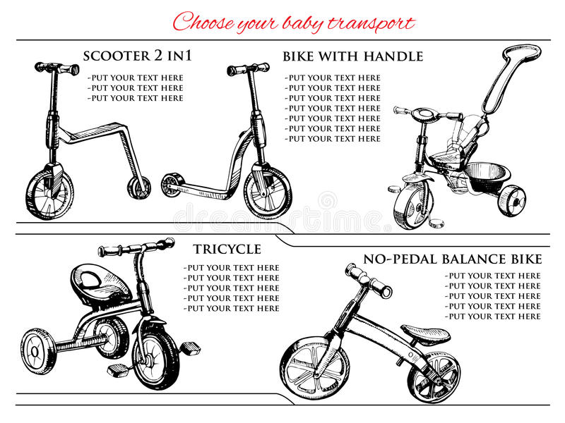 Set hand drawn scooters and bicycles. Vector illustration of set hand drawn scooters and bicycles, balance bike. Hand drawn template vector illustration