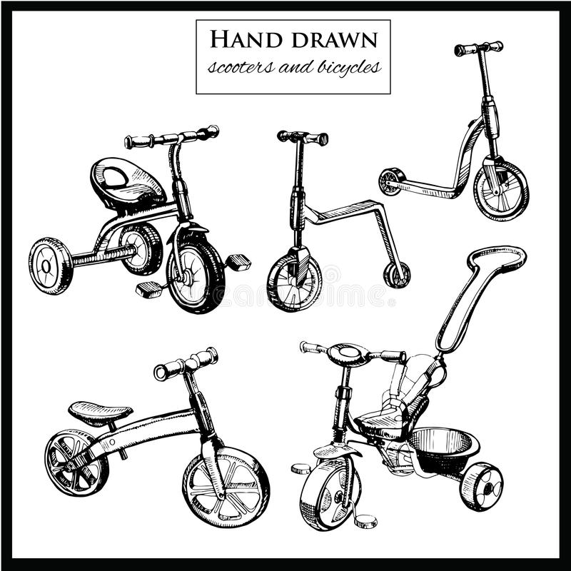 Set hand drawn scooters and bicycles. Vector illustration of set hand drawn scooters and bicycles. Graphic template for design vector illustration