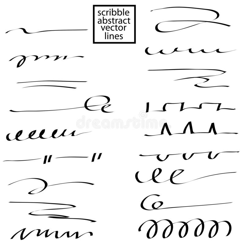 Set of hand drawn scribble lines. Collection of abstract strokes to underline in doddles style. vector illustration