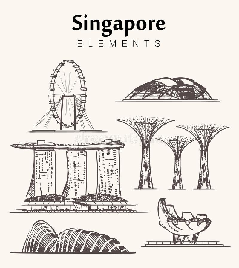 Set of hand-drawn Singapore buildings sketch vector illustration. stock illustration