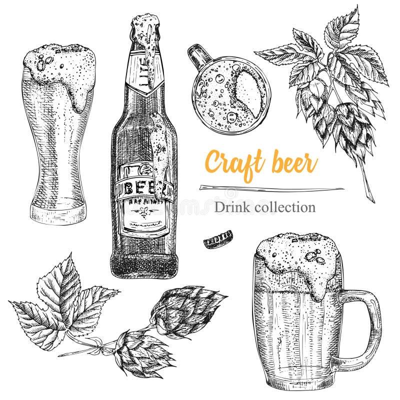 Free Set Hand Drawn Sketch Bottle And Glasses Beer, Hop, Wheat Vintage Design Bar, Restaurant, Cafe Menu On White Background Stock Image - 158149261