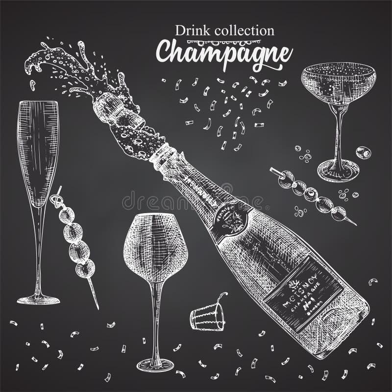 Free Set Hand Drawn Sketch Bottle And Glasses Champagne, On Black Chalckboard Vintage Design Bar, Restaurant, Cafe Menu On White Stock Photography - 160035432