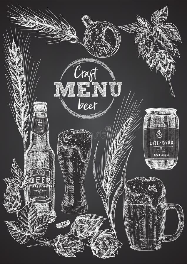 Set hand drawn sketch bottle and glasses beer, hop, wheat Vintage design bar, restaurant, cafe menu on on black chalk stock illustration
