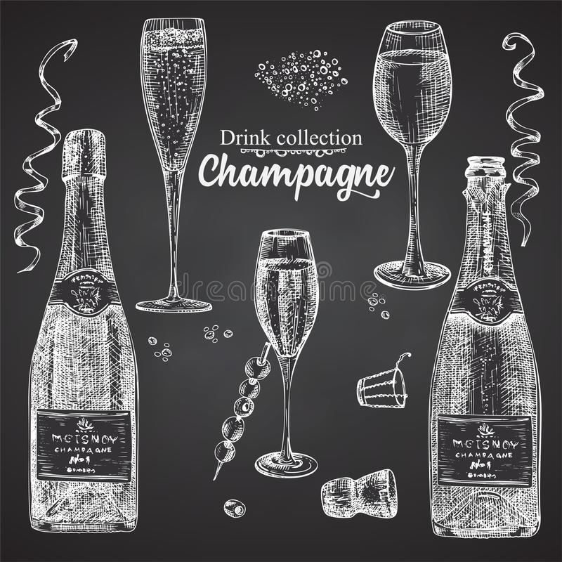 Set hand drawn sketch bottle and glasses champagne, on black chalckboard Vintage design bar, restaurant, cafe menu on white vector illustration