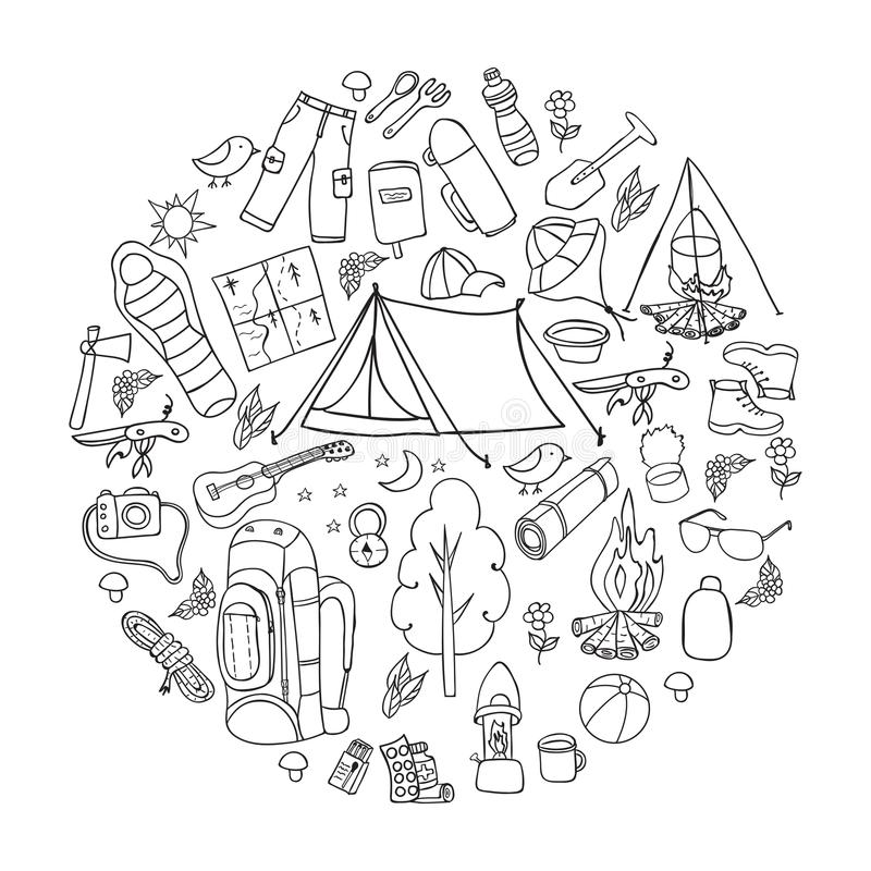 Set of hand drawn sketch camping equipment symbols and icons. Vector illustration. royalty free illustration