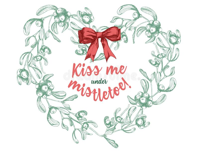 Set of hand drawn sketch Christmas traditional branch decoration with satin bow and text Kiss me under mistletoe royalty free illustration
