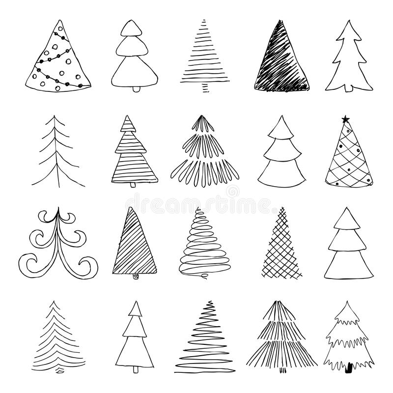 Set of hand drawn Sketch Christmas tree. design for holiday greeting cards and invitations of the Merry Christmas and Happy New Ye royalty free illustration