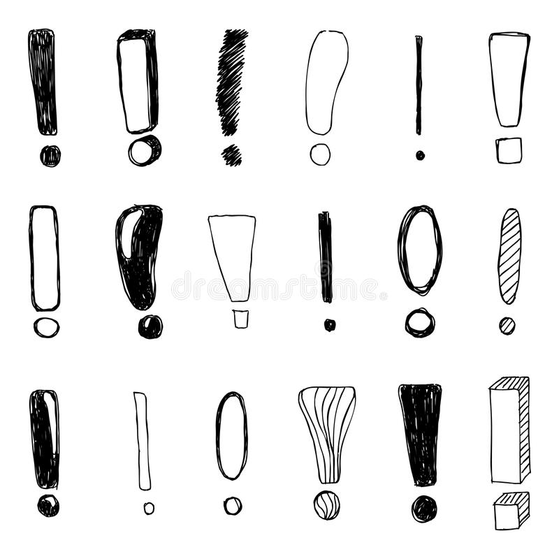 Set of hand drawn Sketch exclamation marks. Vector illustration royalty free illustration