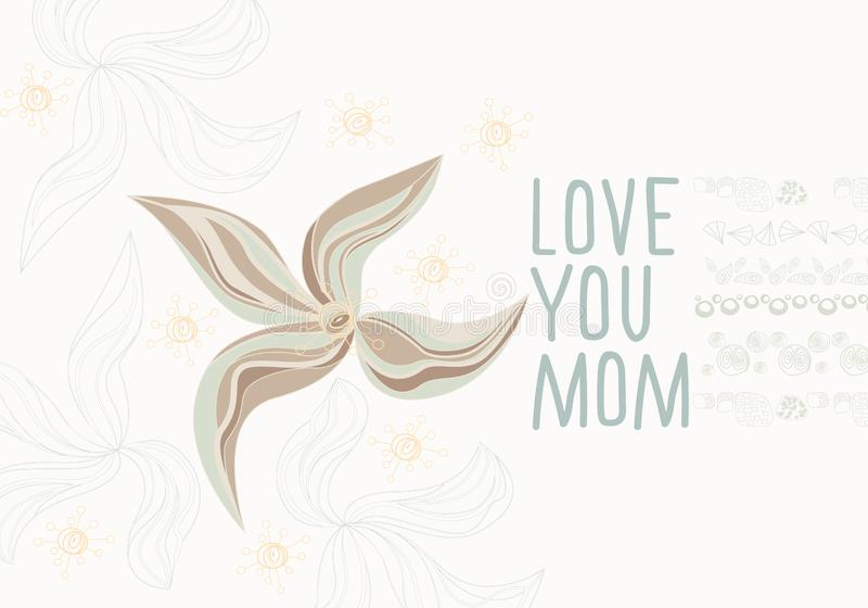 Set of hand drawn slogan for mother`s day with graphic elements isolated on white background stock illustration