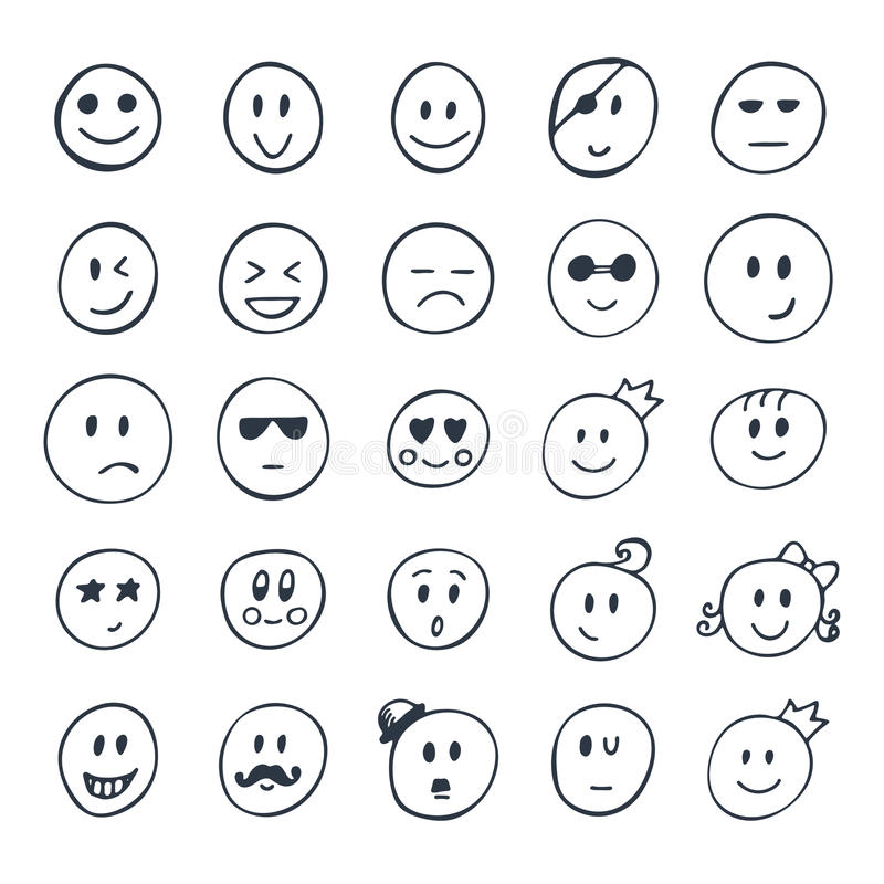 Set Of Hand Drawn Smiley Funny Faces With Different Expressions