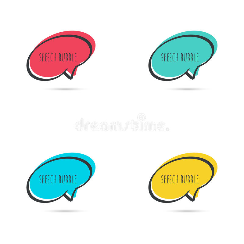 Set hand drawn speech bubble. Vector frame. Text box. Multicolor, red, blue green yellow vector illustration