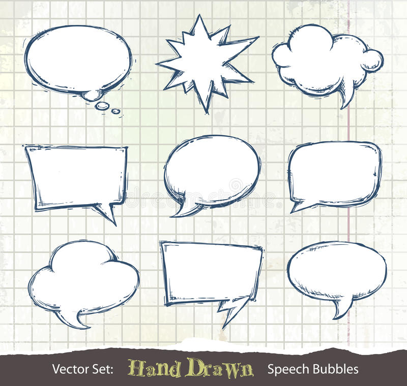 Download Set Of Hand-drawn Speech Bubbles Stock Vector - Illustration: 22003655