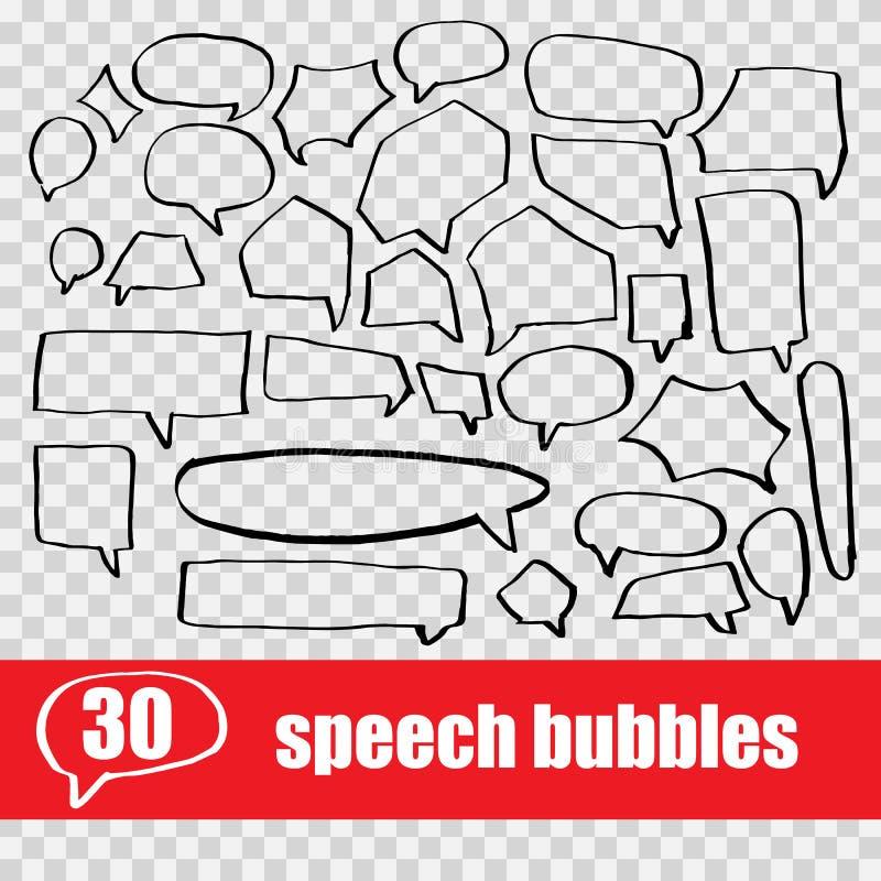 set hand drawn speech bubbles stock illustration