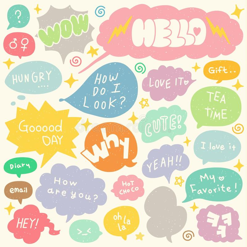 Set of Hand Drawn Speech and Thought Bubbles Doodle stock illustration